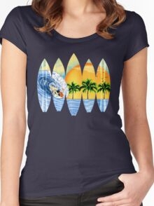 Surfer And Surfboards Women's Fitted Scoop T-Shirt