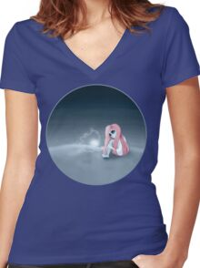 I'm all alone in a world that seems so dark Women's Fitted V-Neck T-Shirt