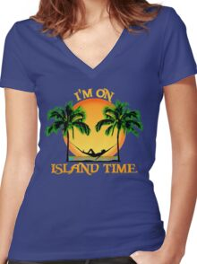 Island Time Women's Fitted V-Neck T-Shirt