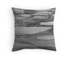 blocks of ice on frozen river Throw Pillow