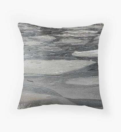 blocks of ice on frozen river Throw Pillow