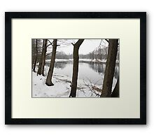 River in a winter landscape Framed Print