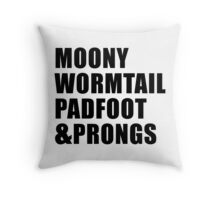 Moony, Wormtail, Padfoot & Prongs Throw Pillow