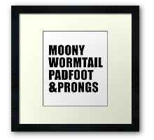 Moony, Wormtail, Padfoot & Prongs Framed Print