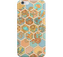 Golden Honeycomb Tangle - hexagon doodle in peach, blue, mint & cream iPhone Case/Skin