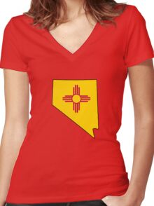 New Mexico flag Nevada outline Women's Fitted V-Neck T-Shirt