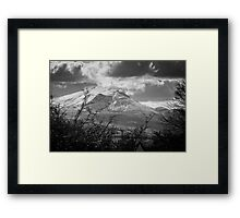Snow-capped mountains in English Lake District monochrome Framed Print