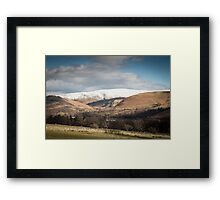Snow-capped mountains in English Lake District Framed Print