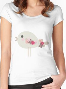 Cute birdie with flowers Women's Fitted Scoop T-Shirt