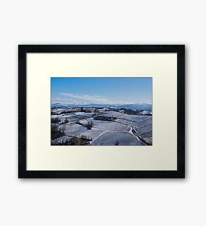 Snow landscape in Piemonte Framed Print