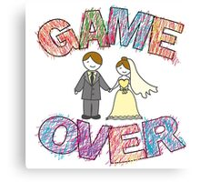 Funny wedding, Game Over. Canvas Print