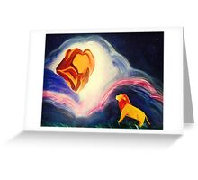 Lions magic clouds sky night Greeting Card