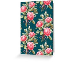brick color bouquet of three roses Greeting Card
