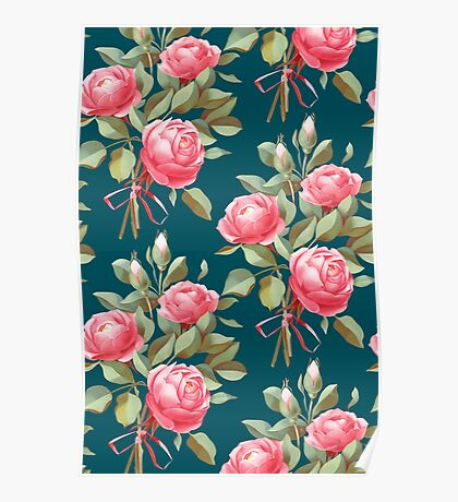 brick color bouquet of three roses Poster