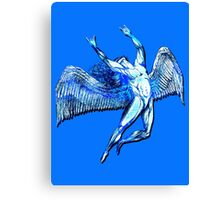 ICARUS THROWS THE HORNS - bright blue Canvas Print