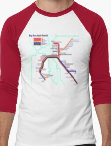 San Francisco BART Map Men's Baseball ¾ T-Shirt