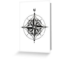 Dotwork Compass Mandala Greeting Card