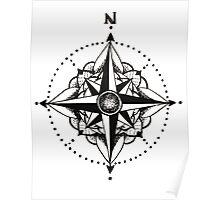 Dotwork Compass Mandala Poster