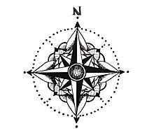 Dotwork Compass Mandala Photographic Print