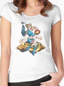 Pin Up Samus Bomber Girl Women's Fitted Scoop T-Shirt