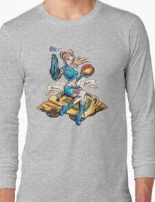 Pin Up Samus Bomber Girl Long Sleeve T-Shirt
