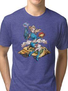 Pin Up Samus Bomber Girl Tri-blend T-Shirt