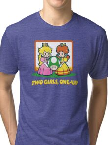 Mario Bros. Two Girls, One Up  Tri-blend T-Shirt