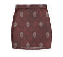 Victorian Skulls Red Mini Skirt