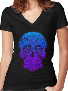 Colorful Skull Women's Fitted V-Neck T-Shirt