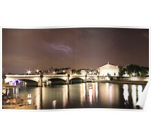 Paris & River Seine by night - the sky was alight  Poster