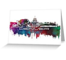 Denver skyline city blue Greeting Card