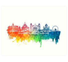 Helsinki skyline color Art Print