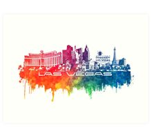 Las Vegas skyline city color Art Print