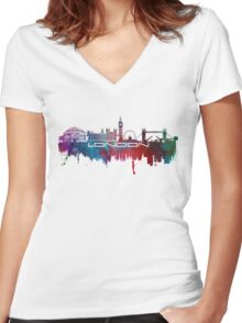 London skyline city blue  Women's Fitted V-Neck T-Shirt