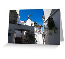 Whitewashed Mediterranean Courtyard - a Charming Traditional Home on Capri Island, Italy Greeting Card