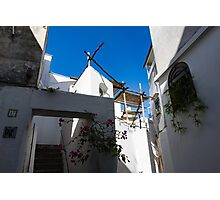 Whitewashed Mediterranean Courtyard - a Charming Traditional Home on Capri Island, Italy Photographic Print