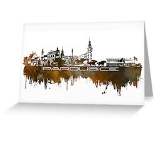 Pardubice skyline city brown Greeting Card