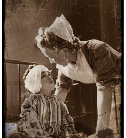 Nurse with Bandaged Boy WWII Sticker
