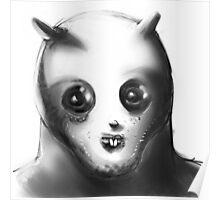 cartoon style alien illustration Poster