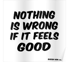 Nothing is Wrong If It Feels Good / Baron Von Fancy Poster