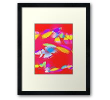 Patches of Color on Red - Digital Art Framed Print