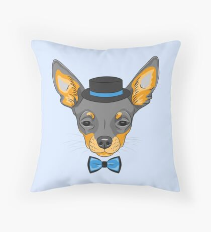 Hipster cute dog Chihuahua Throw Pillow