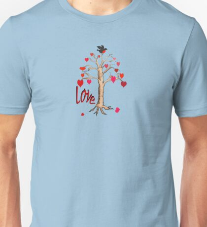 Love tree with bird for lover. Unisex T-Shirt