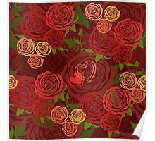 Red Valentine's Day floral pattern Poster