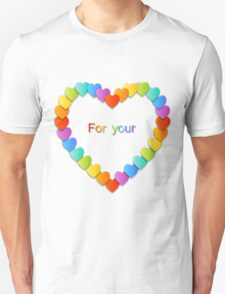 Valentine's Day pattern with beautiful colorful hearts Unisex T-Shirt