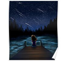 Meteor Shower at the Lake Poster