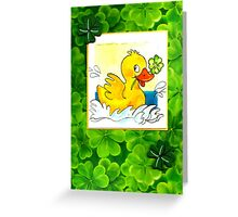 CUTE LITTLE DUCK WITH FOUR-LEAF-CLOVER for good Luck! Greeting Card