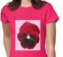 Red Pansy on Pink Background Womens Fitted T-Shirt