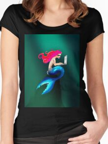 Graphic Tendentious Mermaid Women's Fitted Scoop T-Shirt