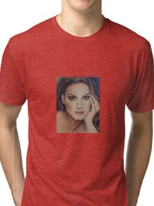 Pencil drawing of Natalie Portman by Florence Lee Tri-blend T-Shirt
